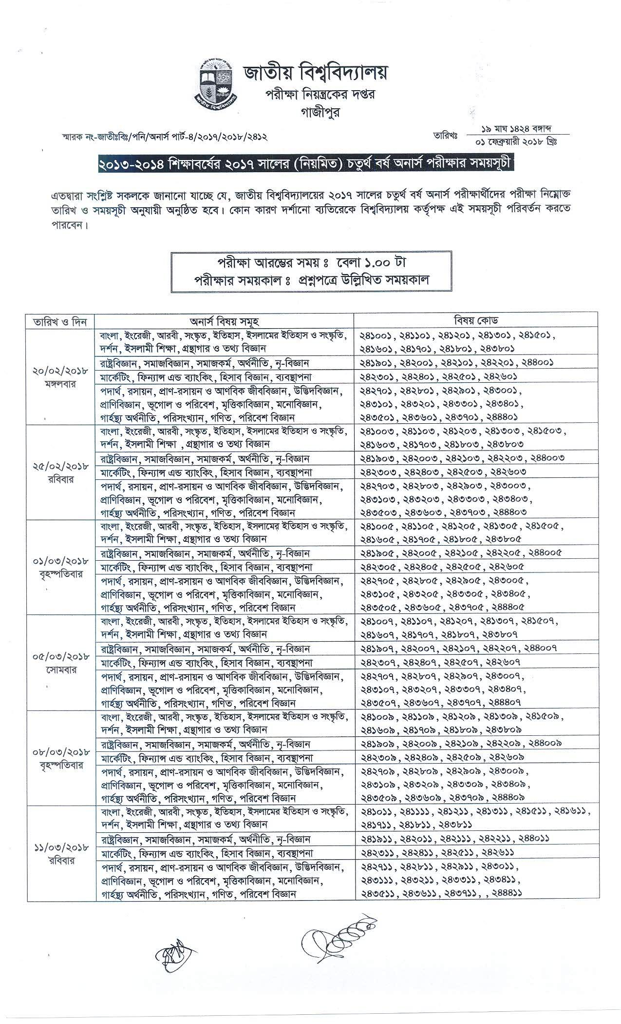 National University Honours Exam Routine 2018.